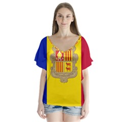National Flag Of Andorra  V Neck Flutter Sleeve Top