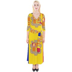 National Flag Of Andorra  Quarter Sleeve Wrap Maxi Dress