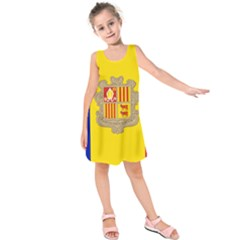 National Flag Of Andorra  Kids  Sleeveless Dress
