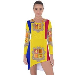National Flag Of Andorra  Asymmetric Cut Out Shift Dress