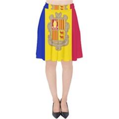 National Flag Of Andorra  Velvet High Waist Skirt