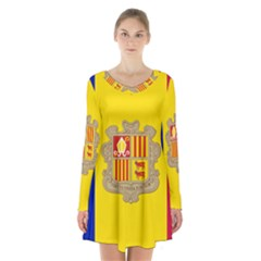 National Flag Of Andorra  Long Sleeve Velvet V Neck Dress