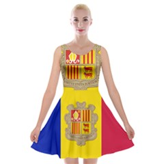 National Flag Of Andorra  Velvet Skater Dress