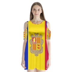National Flag Of Andorra  Shoulder Cutout Velvet One Piece