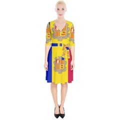 National Flag Of Andorra  Wrap Up Cocktail Dress