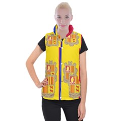 National Flag Of Andorra  Women s Button Up Vest