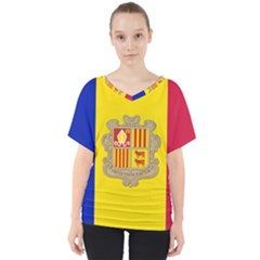 National Flag Of Andorra  V Neck Dolman Drape Top