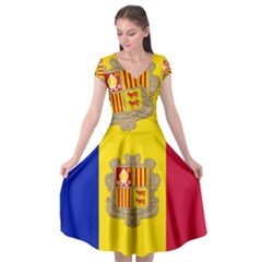 National Flag Of Andorra  Cap Sleeve Wrap Front Dress