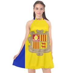 National Flag Of Andorra  Halter Neckline Chiffon Dress