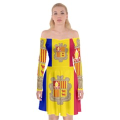 National Flag Of Andorra  Off Shoulder Skater Dress