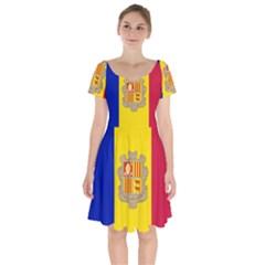 National Flag Of Andorra  Short Sleeve Bardot Dress