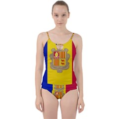 National Flag Of Andorra  Cut Out Top Tankini Set