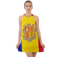 National Flag Of Andorra  Halter Tie Back Chiffon Dress