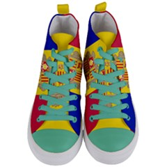 National Flag Of Andorra  Women s Mid Top Canvas Sneakers