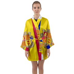 National Flag Of Andorra  Long Sleeve Kimono Robe