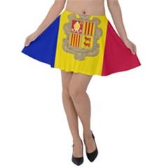 National Flag Of Andorra  Velvet Skater Skirt