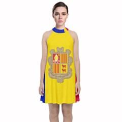 National Flag Of Andorra  Velvet Halter Neckline Dress