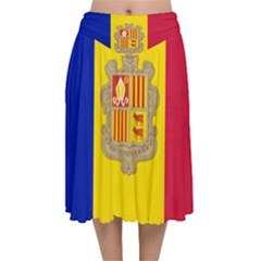 National Flag Of Andorra  Velvet Flared Midi Skirt