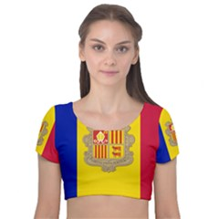 National Flag Of Andorra  Velvet Short Sleeve Crop Top