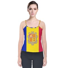 National Flag Of Andorra  Velvet Spaghetti Strap Top