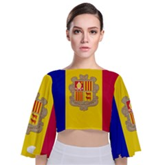National Flag Of Andorra  Tie Back Butterfly Sleeve Chiffon Top