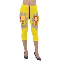 National Flag Of Andorra  Lightweight Velour Capri Leggings