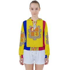 National Flag Of Andorra  Women s Tie Up Sweat