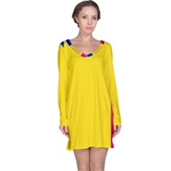 Civil Flag Of Andorra Long Sleeve Nightdress