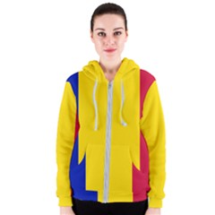 Civil Flag Of Andorra Women s Zipper Hoodie