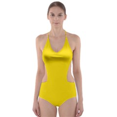 Civil Flag Of Andorra Cut Out One Piece Swimsuit