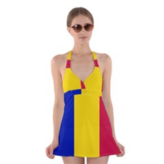 Civil Flag Of Andorra Halter Dress Swimsuit