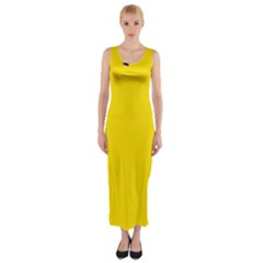 Civil Flag Of Andorra Fitted Maxi Dress