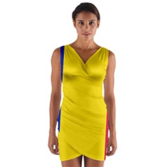 Civil Flag Of Andorra Wrap Front Bodycon Dress