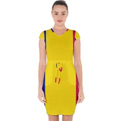 Civil Flag Of Andorra Capsleeve Drawstring Dress