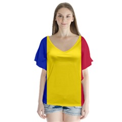 Civil Flag Of Andorra V Neck Flutter Sleeve Top