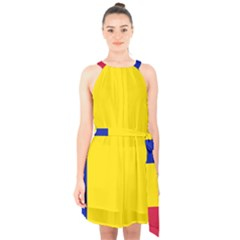 Civil Flag Of Andorra Halter Collar Waist Tie Chiffon Dress