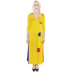 Civil Flag Of Andorra Quarter Sleeve Wrap Maxi Dress