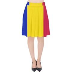 Civil Flag Of Andorra Velvet High Waist Skirt