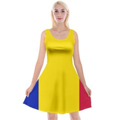 Civil Flag Of Andorra Reversible Velvet Sleeveless Dress