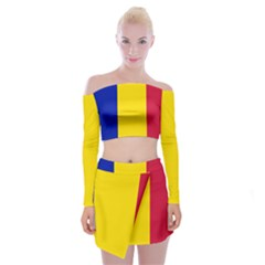 Civil Flag Of Andorra Off Shoulder Top With Mini Skirt Set