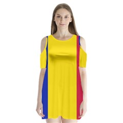 Civil Flag Of Andorra Shoulder Cutout Velvet One Piece