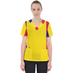 Civil Flag Of Andorra Scrub Top