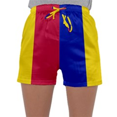 Civil Flag Of Andorra Sleepwear Shorts