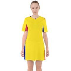 Civil Flag Of Andorra Sixties Short Sleeve Mini Dress