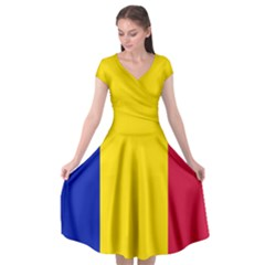 Civil Flag Of Andorra Cap Sleeve Wrap Front Dress