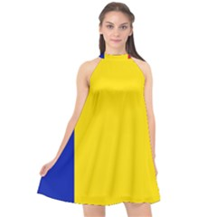 Civil Flag Of Andorra Halter Neckline Chiffon Dress