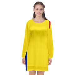Civil Flag Of Andorra Long Sleeve Chiffon Shift Dress