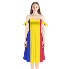 Civil Flag Of Andorra Shoulder Tie Bardot Midi Dress