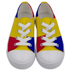 Civil Flag Of Andorra Kids  Low Top Canvas Sneakers