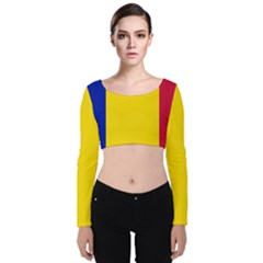 Civil Flag Of Andorra Velvet Crop Top